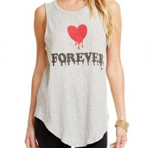 Chaser Love Forever Dripping Red Heart Tank Top